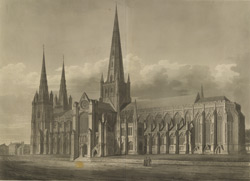 South-east view of the Cathedral church of Lichfield